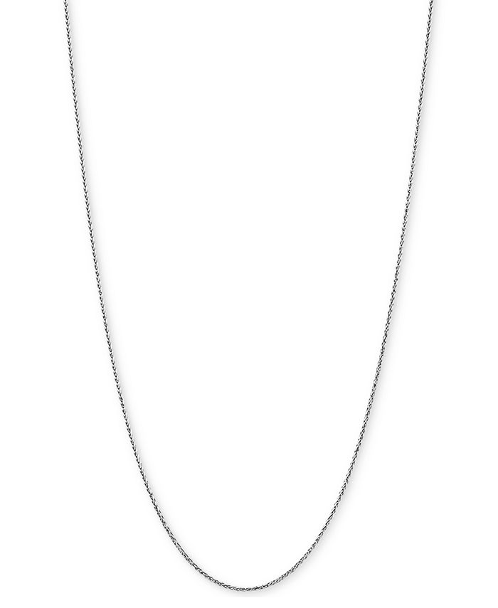 """Italian Gold - Wheat Link 18"""" Chain Necklace in 14k White Gold"""