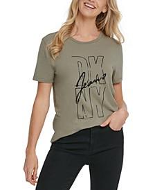 Sequin-Embellished Logo-Print T-Shirt