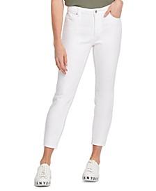 Raw-Hem Mid-Rise Skinny Jeans