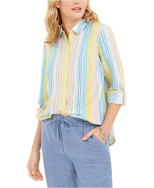 Charter Club Beach Stripe Linen-Blend Shirt, Created For Macy's