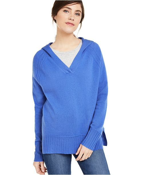 Charter Club Cashmere Solid Hooded-Pullover, Created For Macy's