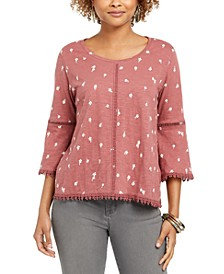 Petite Cotton Lantern-Sleeve Top, Created for Macy's