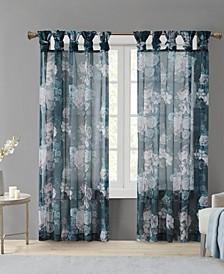 "Simone 50"" x 84"" Printed Floral Twist Top Sheer Curtain Panel"