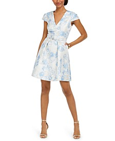 Petite Belted Jacquard Dress