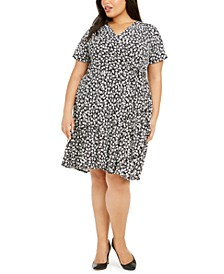 Plus Size Tiered Floral-Print Dress
