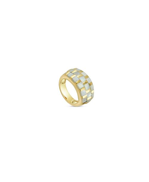 Argento Vivo Mother of Pearl Checkers Ring in 18k Yellow Gold over Sterling Silver