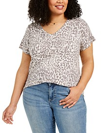 Plus Size Animal-Print Burnout Top, Created For Macy's