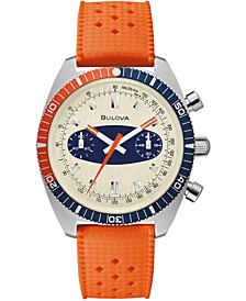 Men's Chronograph Archive Surfboard Orange Silicone Strap Watch 40.5mm