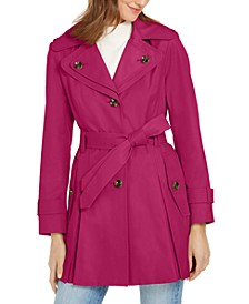 Petite Hooded Water-Resistant Trench Coat