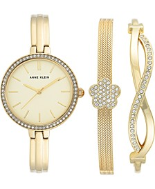 Women's Gold-Tone Bangle Bracelet Watch 32mm Gift Set