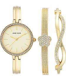 Anne Klein Women's Gold-Tone Bangle Bracelet Watch 32mm Gift Set