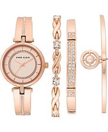Women's Rose Gold-Tone Bangle Bracelet Watch 30mm Gift Set