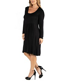 Knee Length Pleated Long Sleeve Plus Size Dress