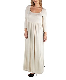 Long Sleeve Pleated Maxi Plus Size Dress