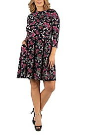 Floral Print Fit N Flare Pockets Plus Size Dress