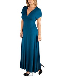 Empire Waist V-Neck Plus Size Maxi Dress