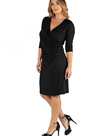 Three Quarter Sleeve Knee Length Plus Size Wrap Dress