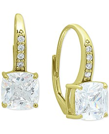 Cubic Zirconia Cushion Leverback Drop Earrings in 18k Gold-Plated Sterling Silver