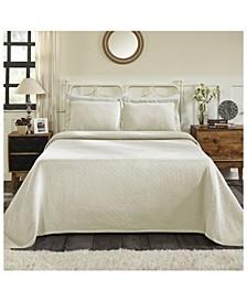 Basket Weave Jacquard Matelasse 3 Piece Bedspread Set, King