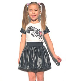 Little Girls Graphic Interchangeable 3D Star Top and Skirt Set
