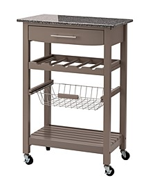 """33.9"""" H Rolling Kitchen Island with Marble Top"""