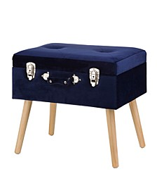 "19.7"" L Velvet Upholstered Storage Stool with Natural Solid Rubberwood Legs"