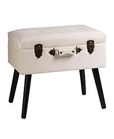"19.7"" L Seashell Velvet Upholstered Storage Stool with Black Solid Rubberwood Legs"