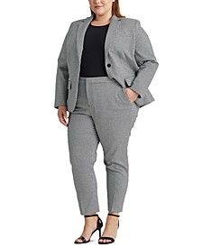 Plus-Size Houndstooth Cotton-Blend Pants