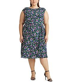 Plus-Size Georgette Cap-Sleeve Dress