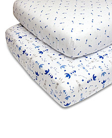 PS by The Peanutshell Blue Rockets and Stars Crib Sheet 2-Pack