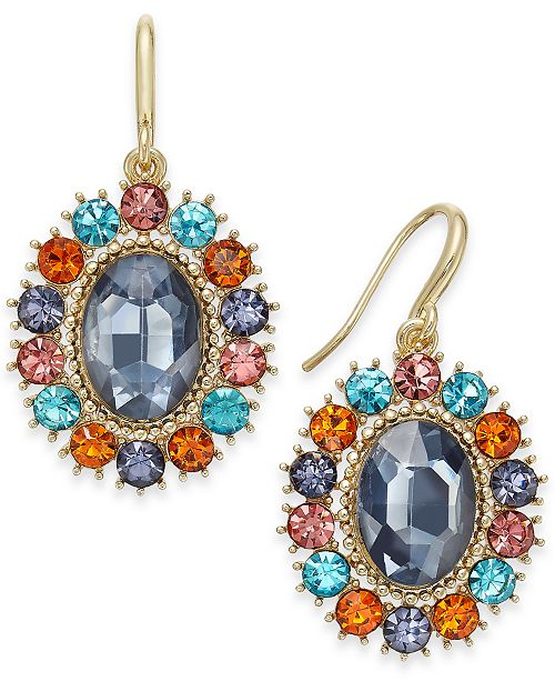 Charter Club Gold-Tone Crystal & Oval Stone Drop Earrings, Created For Macy's