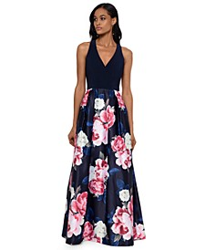 Long Floral-Skirt Gown