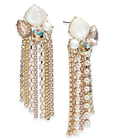 INC Gold-Tone Imitation Pearl & Crystal Cluster Fringe Drop Earrings, Created for Macy's
