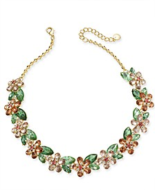 "Gold-Tone Crystal Hydrangea Statement Necklace, 17"" + 2"" extender, Created for Macy's"