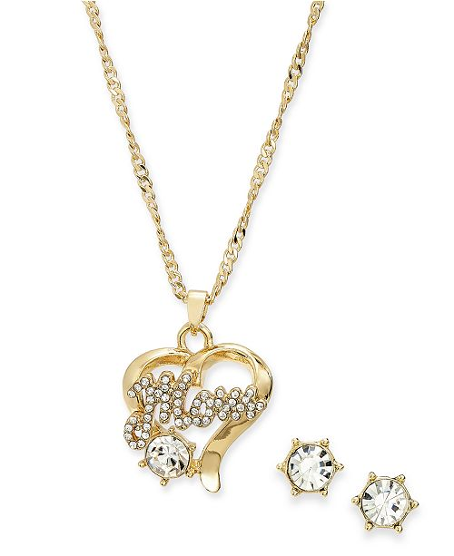 Charter Club Gold-Tone 2-Pc. Set Glass & Cubic Zirconia Mom Heart Pendant Necklace & Stud Earrings, Created For Macy's