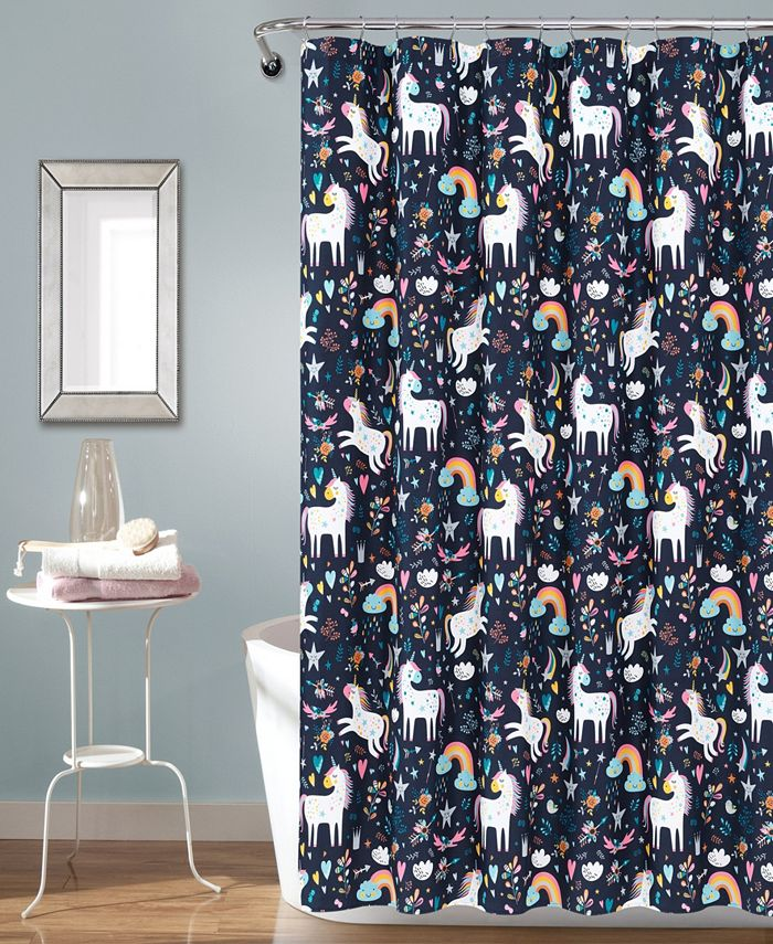 "Lush Décor - Unicorn Heart 72"" x 72"" Shower Curtain"