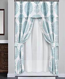 Evelyn Medallion 16P Shower Curtain Set