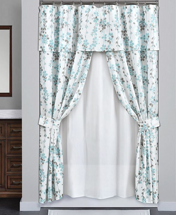 Lush Decor Weeping Flora 16Pc Shower Curtain Set
