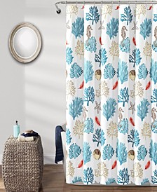 "Coastal Reef Feather 72"" x 72"" Shower Curtain"