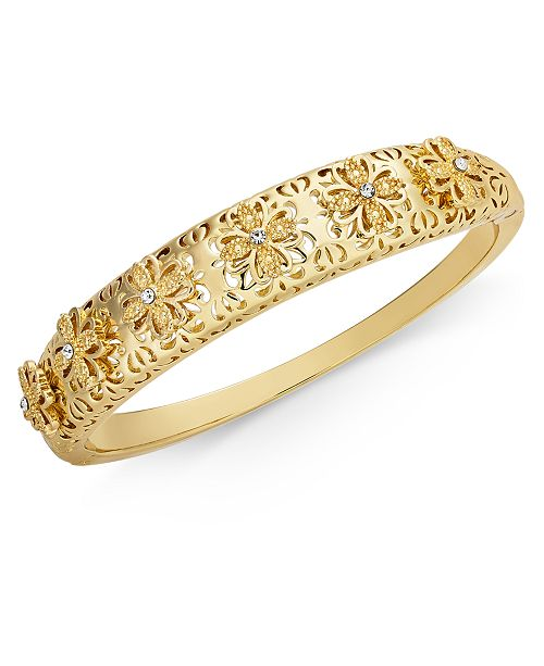Charter Club Gold-Tone Flower Filigree Bangle Bracelet, Created for Macy's