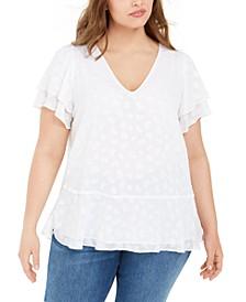 Plus Size Textured Flutter-Sleeve Top