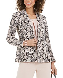 Snake-Print One-Button Blazer