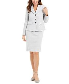 Textured Metallic Skirt Suit