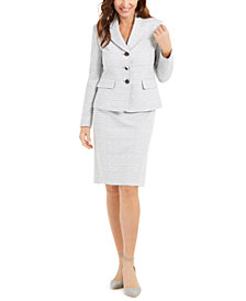 Le Suit Textured Metallic Skirt Suit