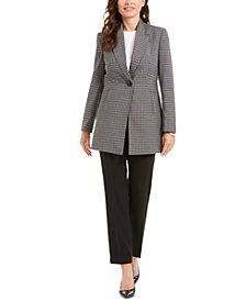 Le Suit Glen Plaid Jacket Pantsuit