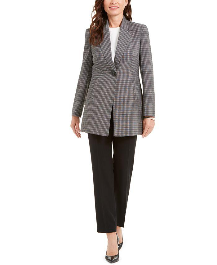 Le Suit - Glen Plaid Jacket Pantsuit