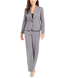 Petite Windowpane Plaid Pants Suit