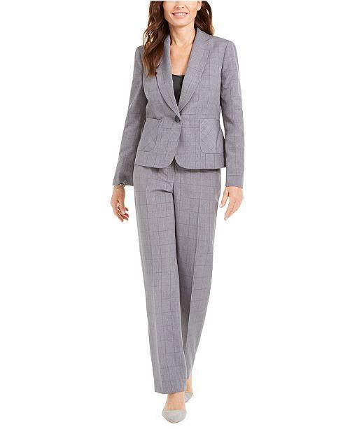 Le Suit Petite Windowpane Plaid Pants Suit