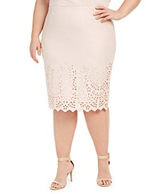 Plus Size Laser Cut Pencil Skirt