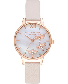 Women's Dancing Dragonfly Pearl Pink Leather Strap Watch 30mm